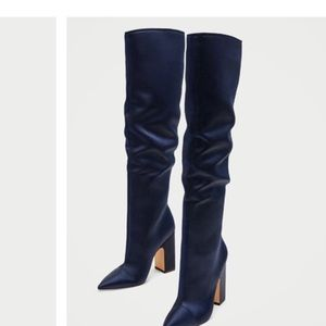 Satin blue high heel boots